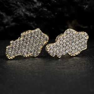 Gold Hip Hop Honey Comb Set Iced Nugget Earrings